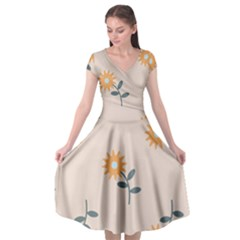 Flowers Continuous Pattern Nature Cap Sleeve Wrap Front Dress