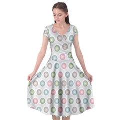 Seamless Pattern Pastels Background Pink Cap Sleeve Wrap Front Dress