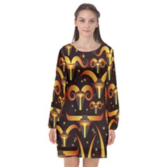 Stylised Horns Black Pattern Long Sleeve Chiffon Shift Dress