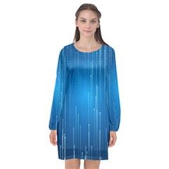 Abstract Line Space Long Sleeve Chiffon Shift Dress