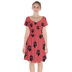 Paw Prints Background Animal Short Sleeve Bardot Dress