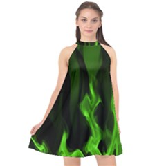 Smoke Flame Abstract Green Halter Neckline Chiffon Dress  by HermanTelo