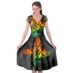 Smoke Rainbow Abstract Fractal Cap Sleeve Wrap Front Dress by HermanTelo