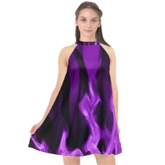 Smoke Flame Abstract Purple Halter Neckline Chiffon Dress  by HermanTelo
