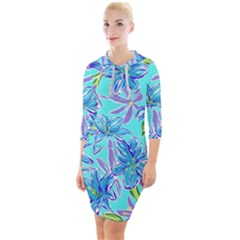 Preppy Floral Pattern Quarter Sleeve Hood Bodycon Dress by tarastyle