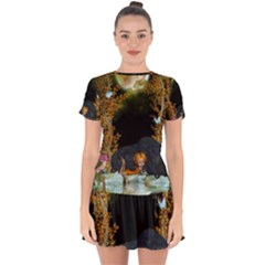 Cute Fairy With Awesome Wolf In The Night Drop Hem Mini Chiffon Dress by FantasyWorld7