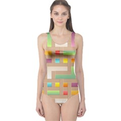 Abstract Background Colorful One Piece Swimsuit