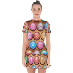 Background Colorful Abstract Brown Drop Hem Mini Chiffon Dress by HermanTelo