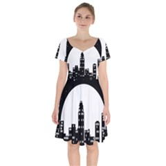 City Night Moon Star Short Sleeve Bardot Dress
