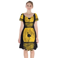 Moon Reflection Flamenco Animal Short Sleeve Bardot Dress