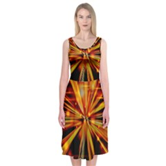 Zoom Effect Explosion Fire Sparks Midi Sleeveless Dress