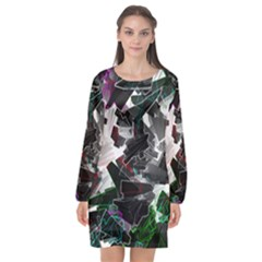 Abstract Science Fiction Long Sleeve Chiffon Shift Dress  by HermanTelo