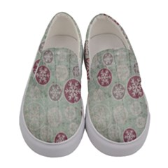 Background Christmas Vintage Old Women s Canvas Slip Ons