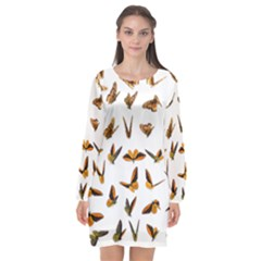 Butterflies Insect Swarm Long Sleeve Chiffon Shift Dress  by HermanTelo