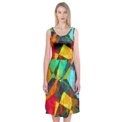 Color Abstract Polygon Background Midi Sleeveless Dress