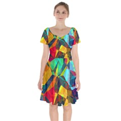 Color Abstract Polygon Background Short Sleeve Bardot Dress