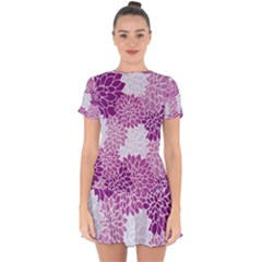 Floral Purple Drop Hem Mini Chiffon Dress by HermanTelo