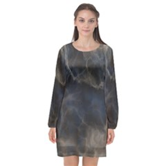 Marble Surface Texture Stone Long Sleeve Chiffon Shift Dress  by HermanTelo