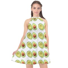 Pattern Avocado Green Fruit Halter Neckline Chiffon Dress  by HermanTelo