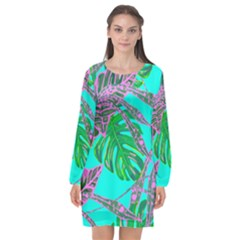 Painting Oil Leaves Nature Reason Long Sleeve Chiffon Shift Dress