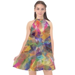 Polygon Wallpaper Halter Neckline Chiffon Dress  by HermanTelo