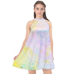 Modern Mandala Design Halter Neckline Chiffon Dress  by tarastyle