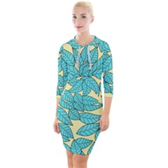 Leaves Dried Quarter Sleeve Hood Bodycon Dress by Mariart