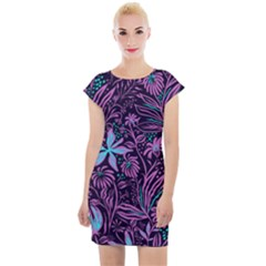 Stamping Pattern Leaves Purple Cap Sleeve Bodycon Dress by AnjaniArt