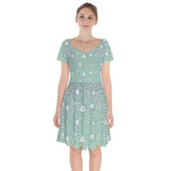Sweet Flowers In Green Short Sleeve Bardot Dress by TimelessFashion