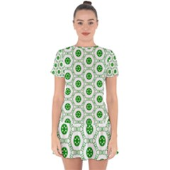 White Background Green Shapes Drop Hem Mini Chiffon Dress by Nexatart