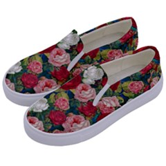 Roses Repeat Floral Bouquet Kids  Canvas Slip Ons by Nexatart