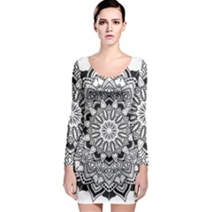 Mandala Spiritual Texture Long Sleeve Bodycon Dress