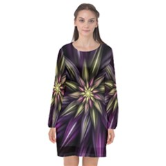 Fractal Flower Floral Abstract Long Sleeve Chiffon Shift Dress  by Pakrebo