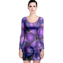 Abstract Pattern Fractal Wallpaper Long Sleeve Bodycon Dress