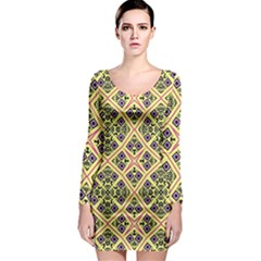 Seamless Wallpaper Geometric Yellow Long Sleeve Bodycon Dress