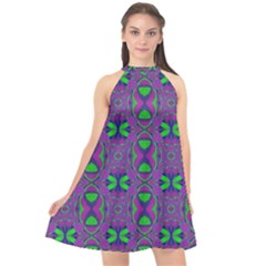 Seamless Wallpaper Pattern Ornament Green Purple Halter Neckline Chiffon Dress  by Pakrebo