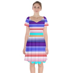 Cotton Candy Stripes Short Sleeve Bardot Dress by bloomingvinedesign
