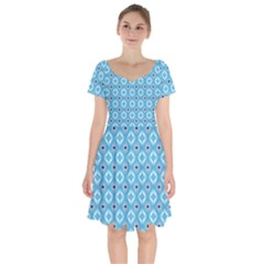 Blue Pattern Short Sleeve Bardot Dress
