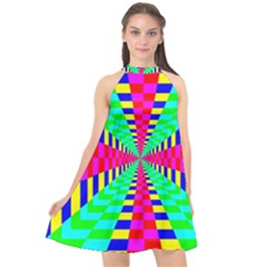 Maze Rainbow Vortex Halter Neckline Chiffon Dress  by HermanTelo