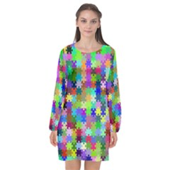 Jigsaw Puzzle Background Chromatic Long Sleeve Chiffon Shift Dress