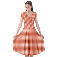 Gingham Plaid Fabric Pattern Red Cap Sleeve Wrap Front Dress
