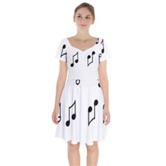 Piano Notes Music Short Sleeve Bardot Dress