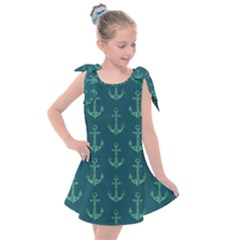 Mermaid Anchors Kids  Tie Up Tunic Dress by VeataAtticus