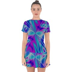 Background Design Pattern Colorful Drop Hem Mini Chiffon Dress by Sudhe