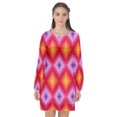 Texture Surface Orange Pink Long Sleeve Chiffon Shift Dress  by Mariart