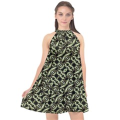 Modern Abstract Camouflage Patttern Halter Neckline Chiffon Dress  by dflcprintsclothing