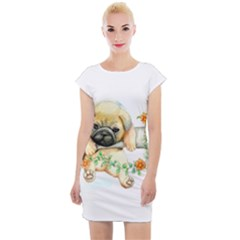 Pug Watercolor Cute Animal Dog Cap Sleeve Bodycon Dress by Bejoart
