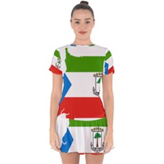 Equatorial Guinea Flag Map Drop Hem Mini Chiffon Dress by Sapixe