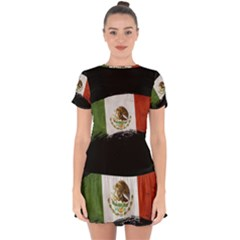 Flag Mexico Country National Drop Hem Mini Chiffon Dress by Sapixe