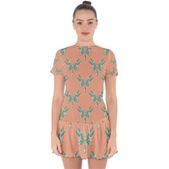 Turquoise Dragonfly Insect Paper Drop Hem Mini Chiffon Dress by Pakrebo